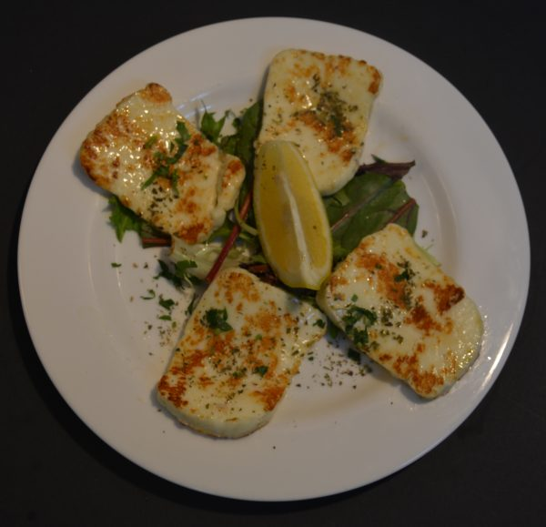 Grilled Haloumi Cheese with lemon.