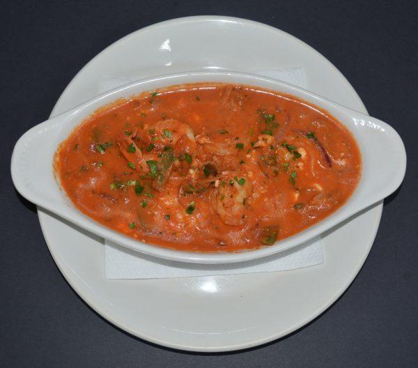 A delicious Prawns Saganaki recipe, it's basically prawns in a fresh tomato and feta cheese sauce