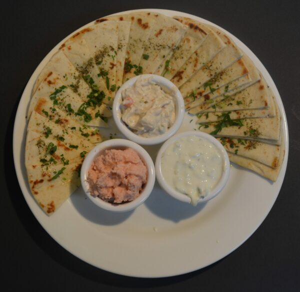 Mixed Dips with Pita Bread