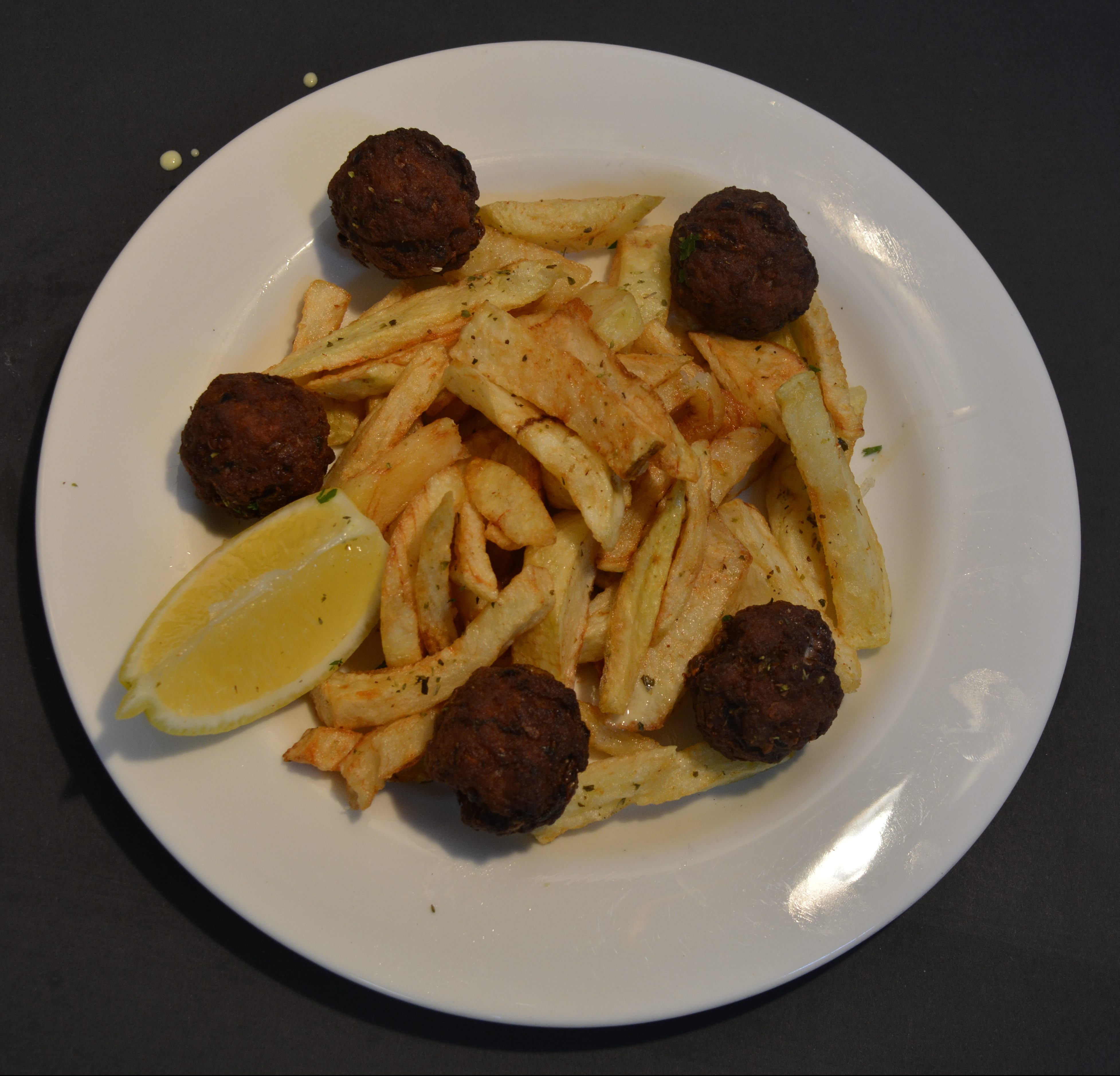Meatballs served with homemade chips and sauce of your choice