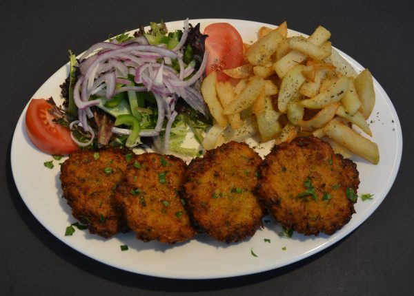 Pumpkin Patties served with homemade chips and salad